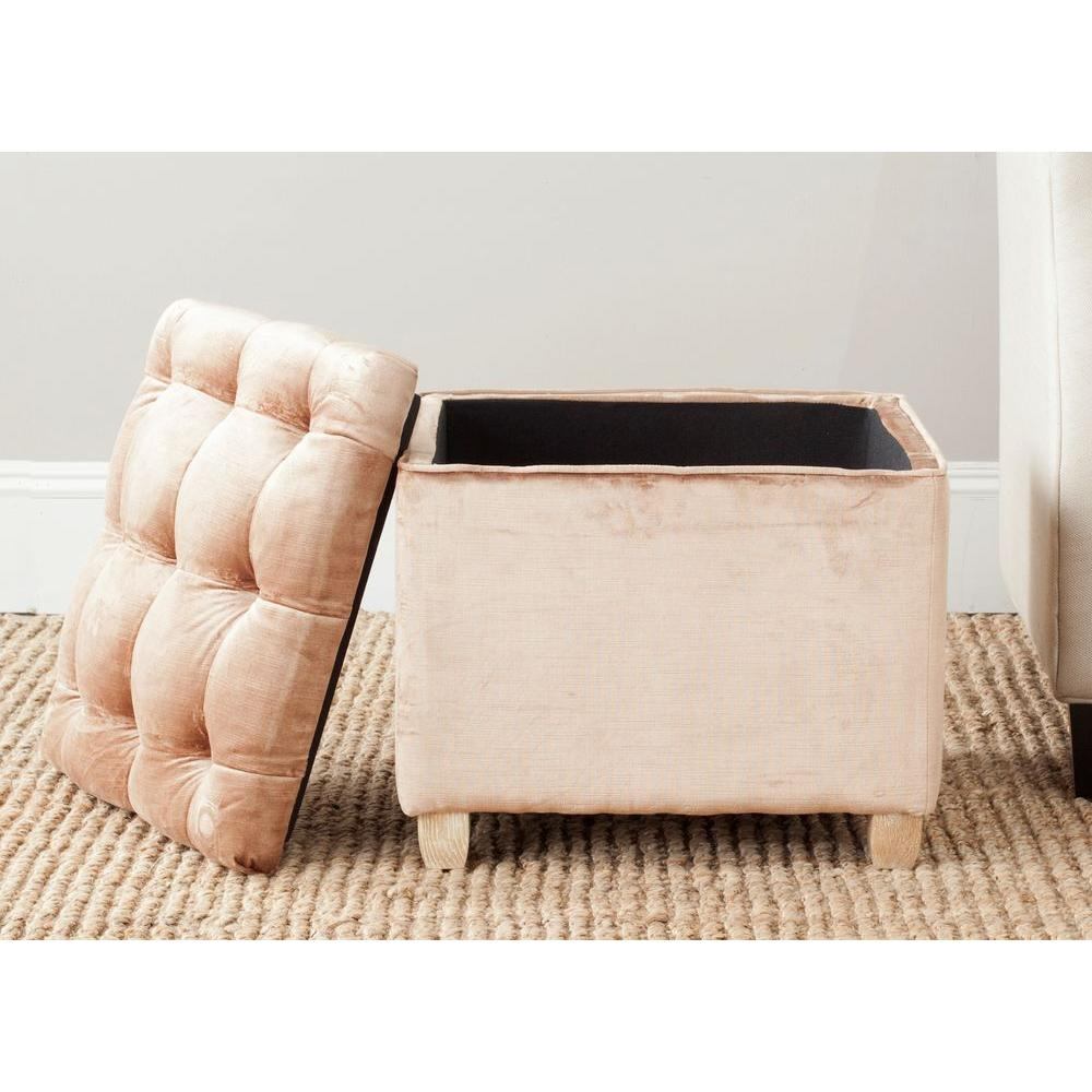 Super Safavieh Joanie Mink Brown Storage Ottoman Dark Champagne Gmtry Best Dining Table And Chair Ideas Images Gmtryco