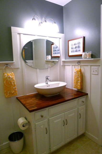 Make Photo Gallery A butcher block top turns this vanity high end From Unbelievable Budget Bathrooms good idea putting a vessel sink on top of old vanity for the other