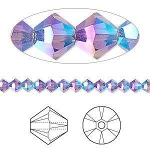 144 Swarovski 5328 Crystal XILION Bicone Bead Jewelry Making 4mm pink ROSE AB 2x
