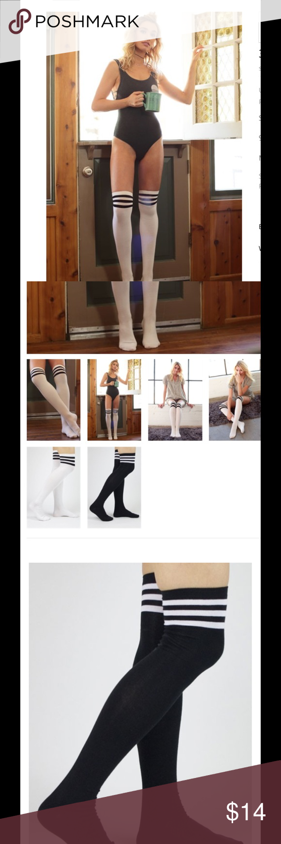 SOON! Cotton spandex thigh highs!  NEW In package stripes white with black stripes or black with white stripes cotton /spandex two for $25 or $14 each mix/match! Accessories Hosiery & Socks