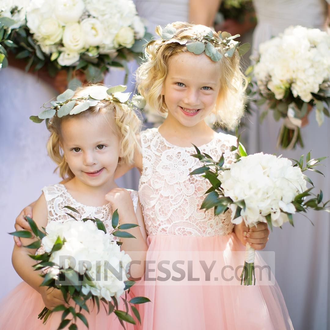 Blush pink girl dress  Princess Ivory Lace Blush Pink Tulle Flower Girl Dress  Flower Girl