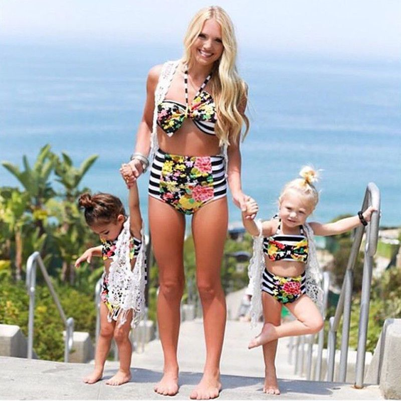 bd1abb92acd Summer Family Matching Mother Daughter Striped Swimsuit Kids Parent Child  Outfit