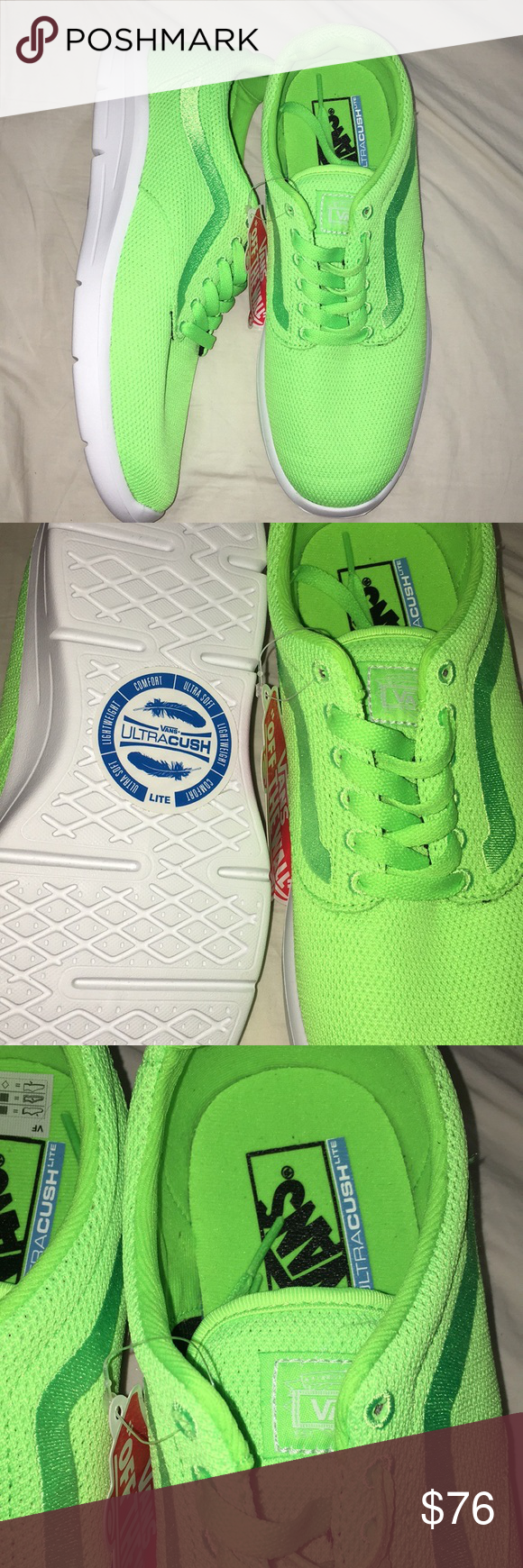 11ecf1906caaf5 ISO 1.5 mesh Vans ISO 1.5 mesh green gecko green neon Vans. Old skool  design. Great athletic shoes for running or sports. Ultra Cush lite.