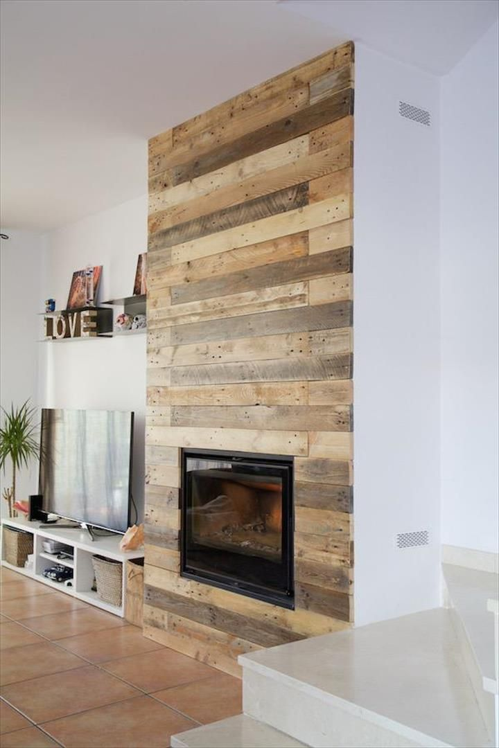 Pallet Wall Surrounding Faux Fireplace Faux Fireplace