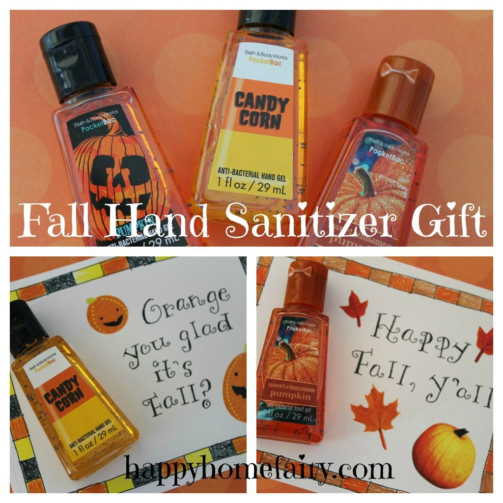 Free Printable Fall Hand Sanitizer Gift Fall Teacher Gifts