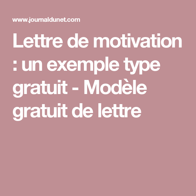 lettre de motivation   un exemple type gratuit