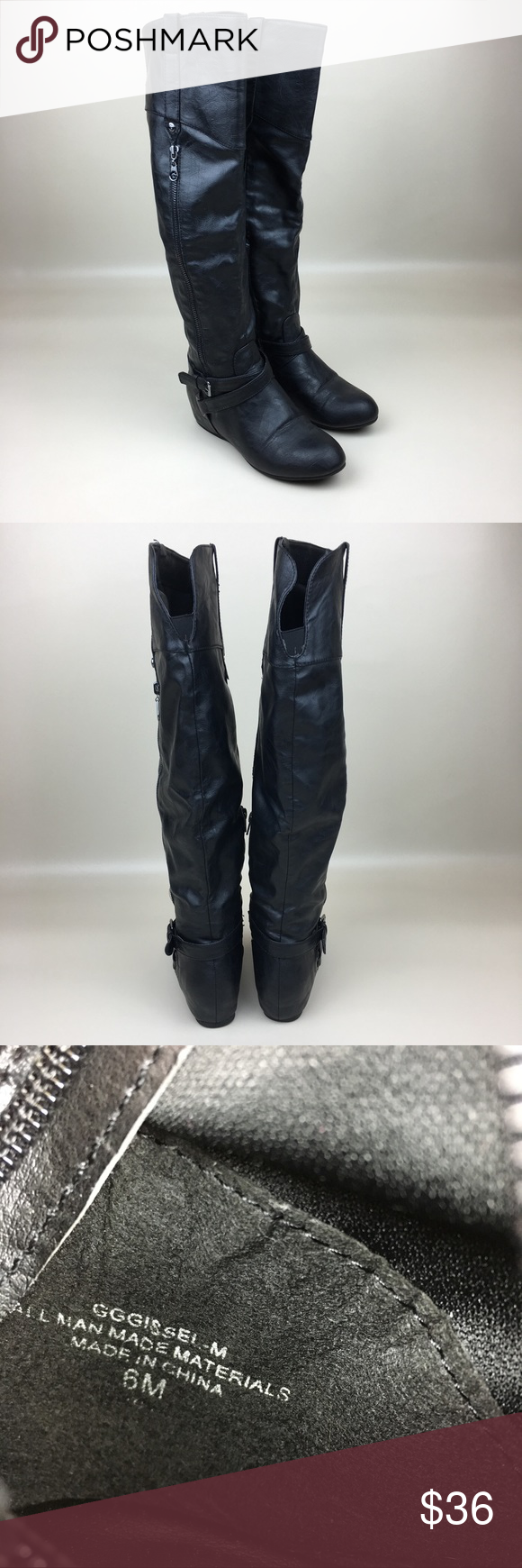 e06d8a75f82e GUESS Gissel Black Over-Knee Hidden Wedge Boots G by GUESS Gissel Black Over -