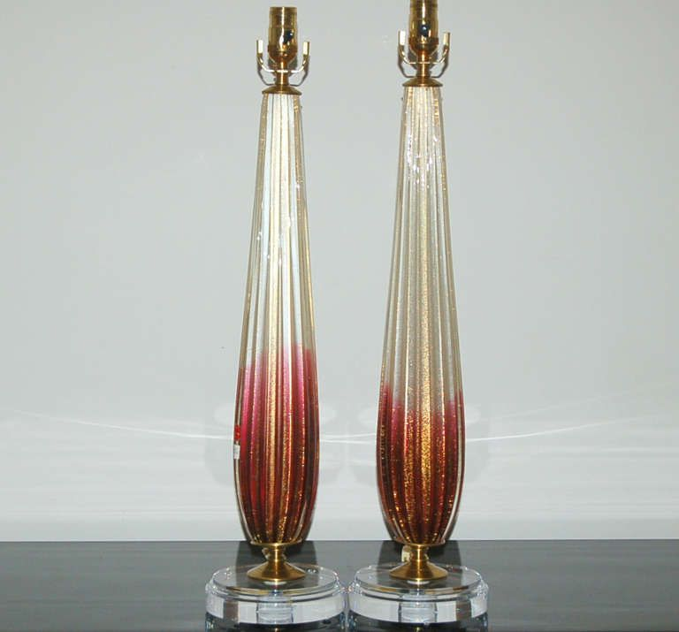 1stdibs.com | Pair of Vintage Murano Lamps of Cranberry and Cream by  Barovier & Toso