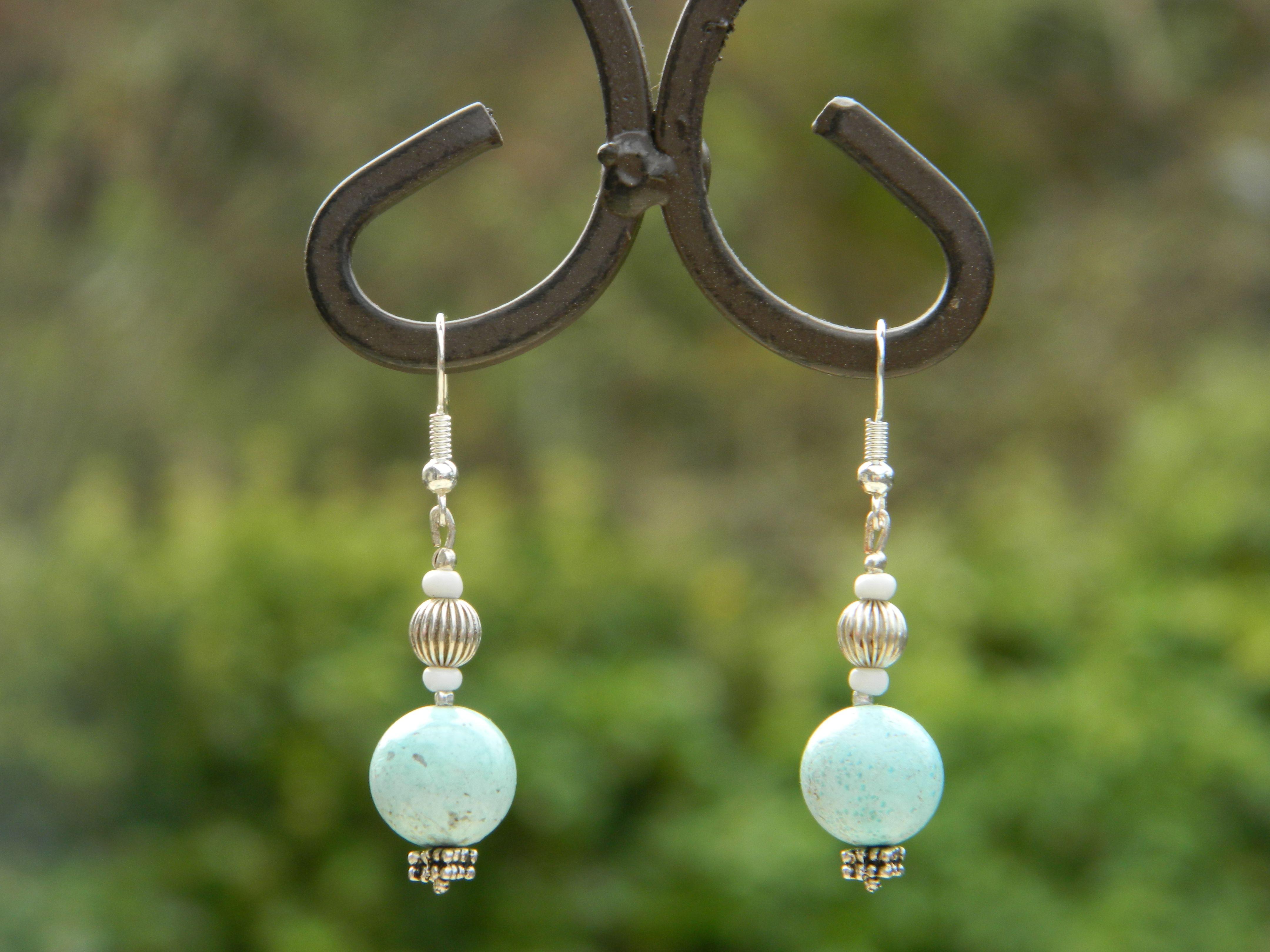 Blue and Silver Bead Pierced Dangle Earrings