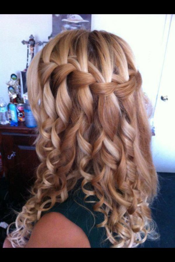 Curled Waterfall Braid Alas Poor Bixby S Golden Tresses Will Frizz As They Cascade Hair Styles Braids With Curls Long Hair Styles