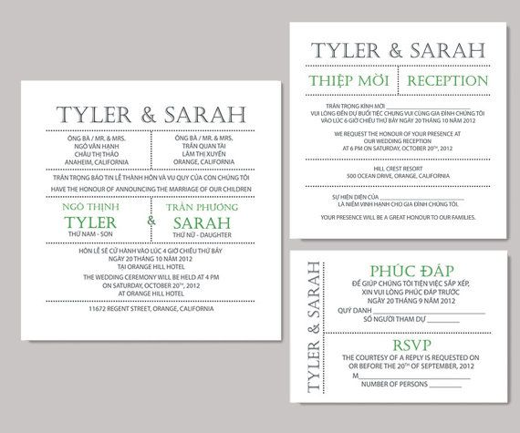 Printable Bilingual Vietnamese Wedding Invitation Set Reception And Rsvp Diana Love Languages Sets Weddings
