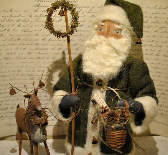 Primitive, Folk Art, OOAK Olde German Style Santa with Reindeer... Olde Kris Kringle & Blixen.