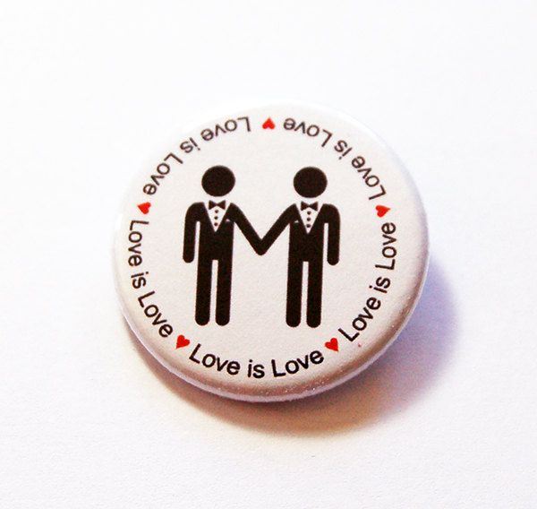 Love is Love button, Gay Pride, LGBT Pin, Lapel Pin, Pinback buttons, Tolerance, Same Sex Marriage, Love is love pin, two men (5791) by KellysMagnets on Etsy