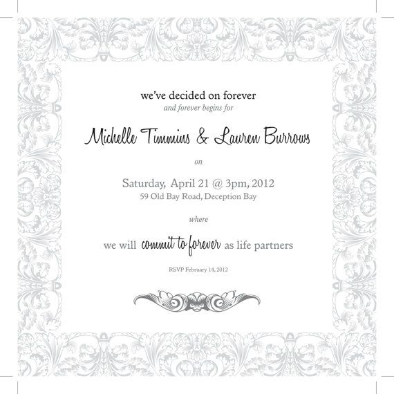 Commitment Ceremony Invitation Wedding by burrowscowlam on Etsy
