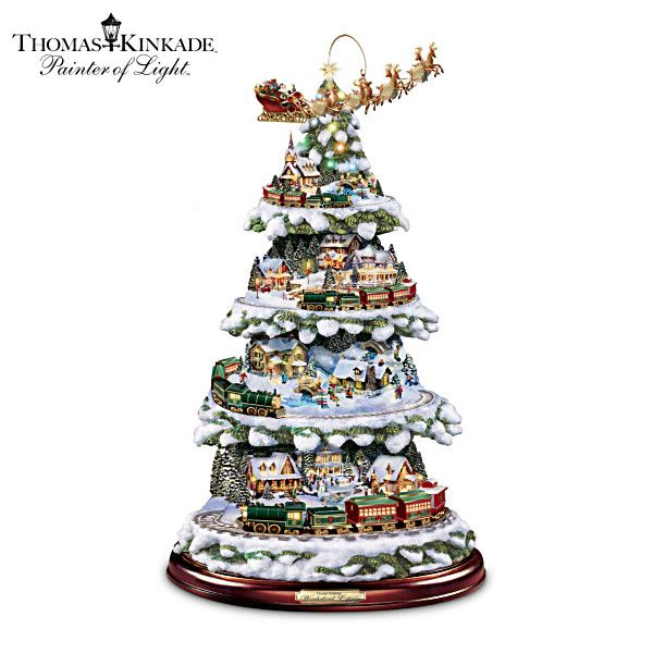 Thomas Kinkade Tree With Lights Moving Train Music Christmas Tree Train Thomas Kinkade Christmas Tabletop Christmas Tree