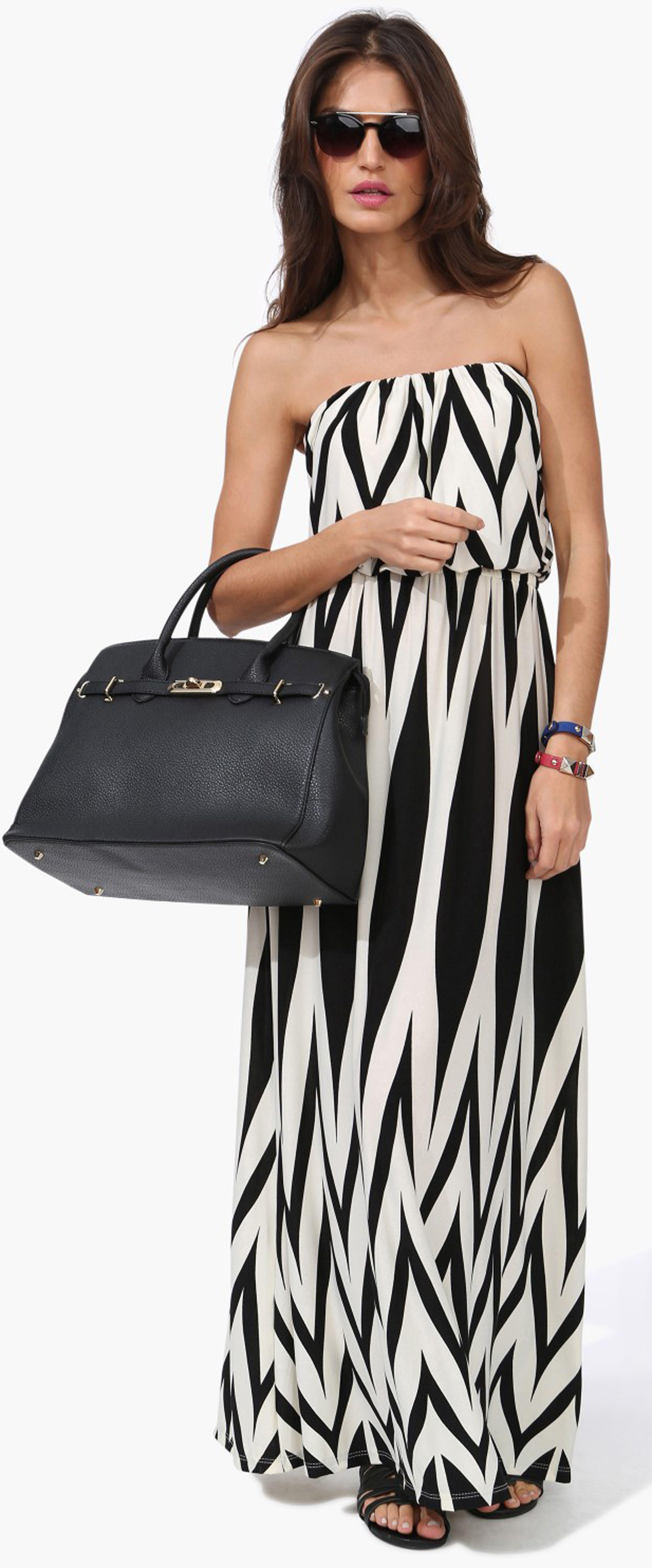 Black and white chevron strapless maxi dress