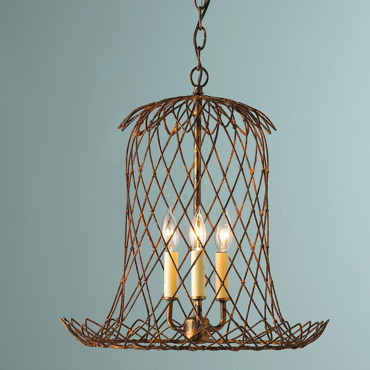 Tulip Wire Basket Lantern A Rusty Finish On Heavy Gauge Wire Forms A Lovely Tulip Shape Housing 3 Candle Lights Exclusive To Sha Lanterns Light Glam Lighting