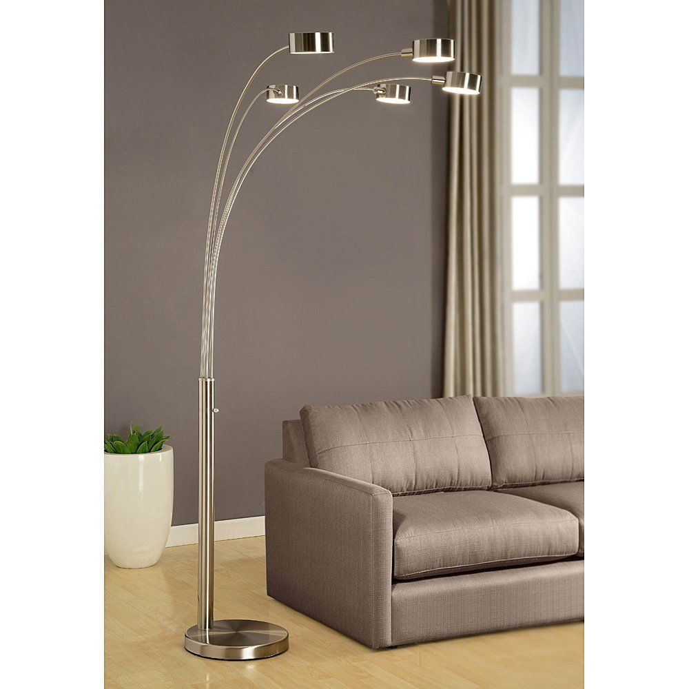 Artiva Usa Micah Modern Arched Brushed Steel Floor Lamp With Rotatable Shade And Dimmer Ping Great Deals On Lamps