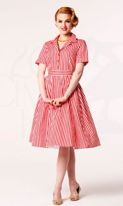 564a5edfb3e Vintage Red and White Vertical Stripes Turn-down Collar Sweet Dress ...