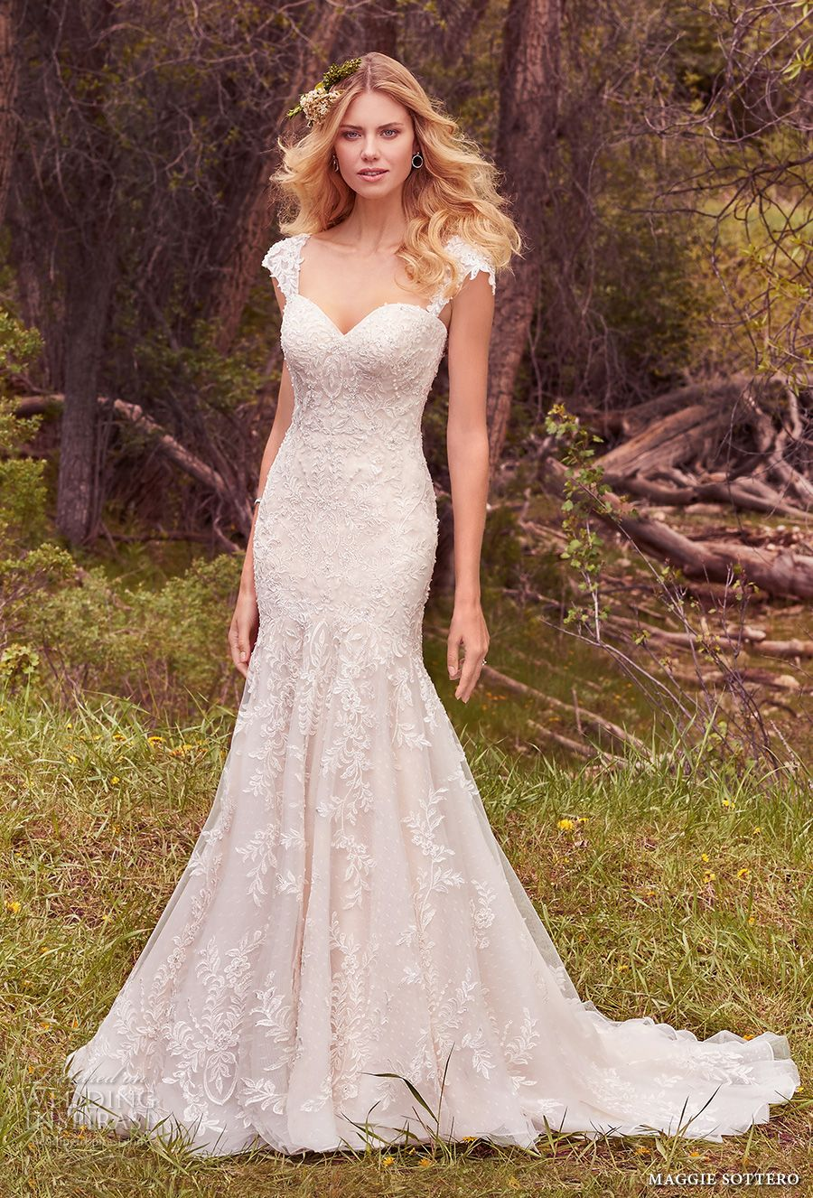 Maggie Sottero Spring 2017 Bridal Detachable Cap Sleeves Sweetheart Neckline Full Embellishment Fit And Flare Wedding Dress Corset Strap Chapel Train
