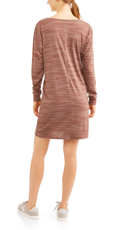b83a796f9d6 Women s Long Sleeve Fleece T-Shirt Dress Sleeve