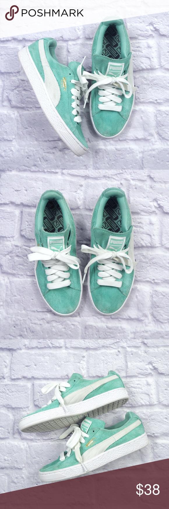 PUMA PLATFORM Suede Sneakers Seafoam