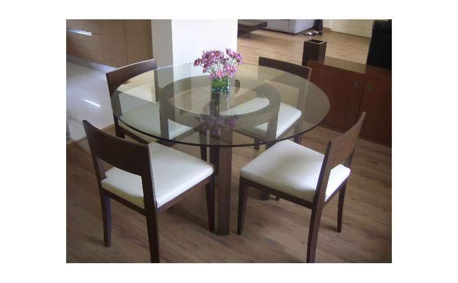 Dining Area With Round Gl Table Design By Shahen Mistry