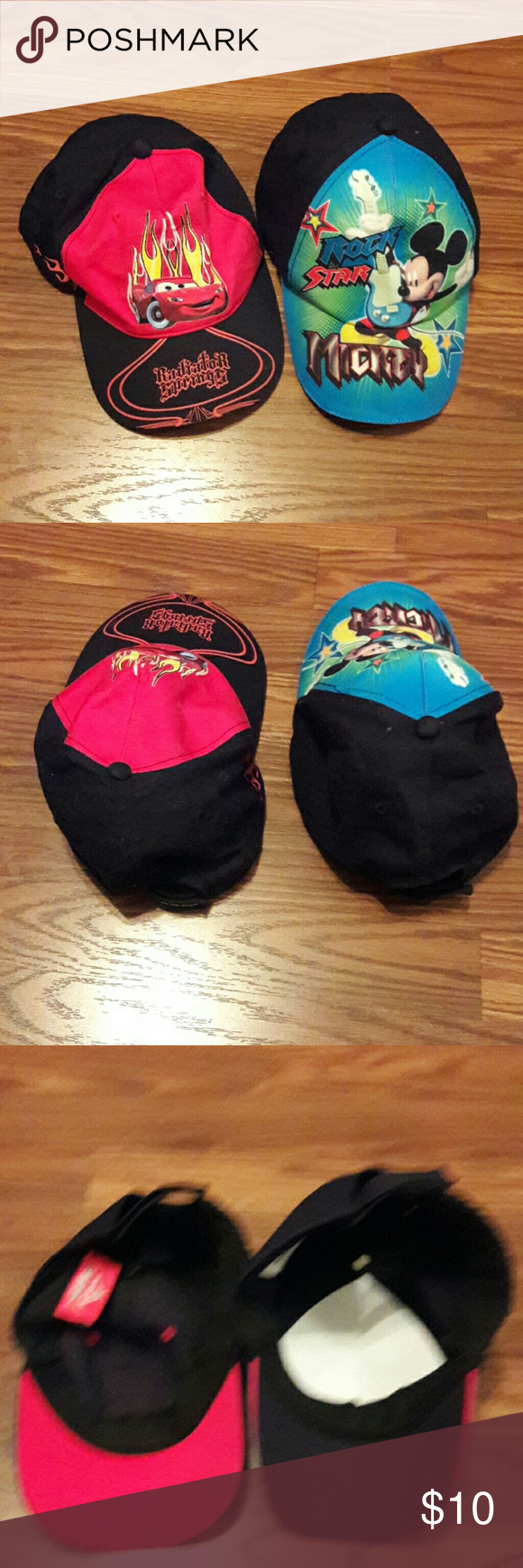 2 Cute Boys Disney Caps ***NWOT *** Rock Star Mickey and Disney Pixar. Adjustable strap on the back. Both stole together. Accessories Hats
