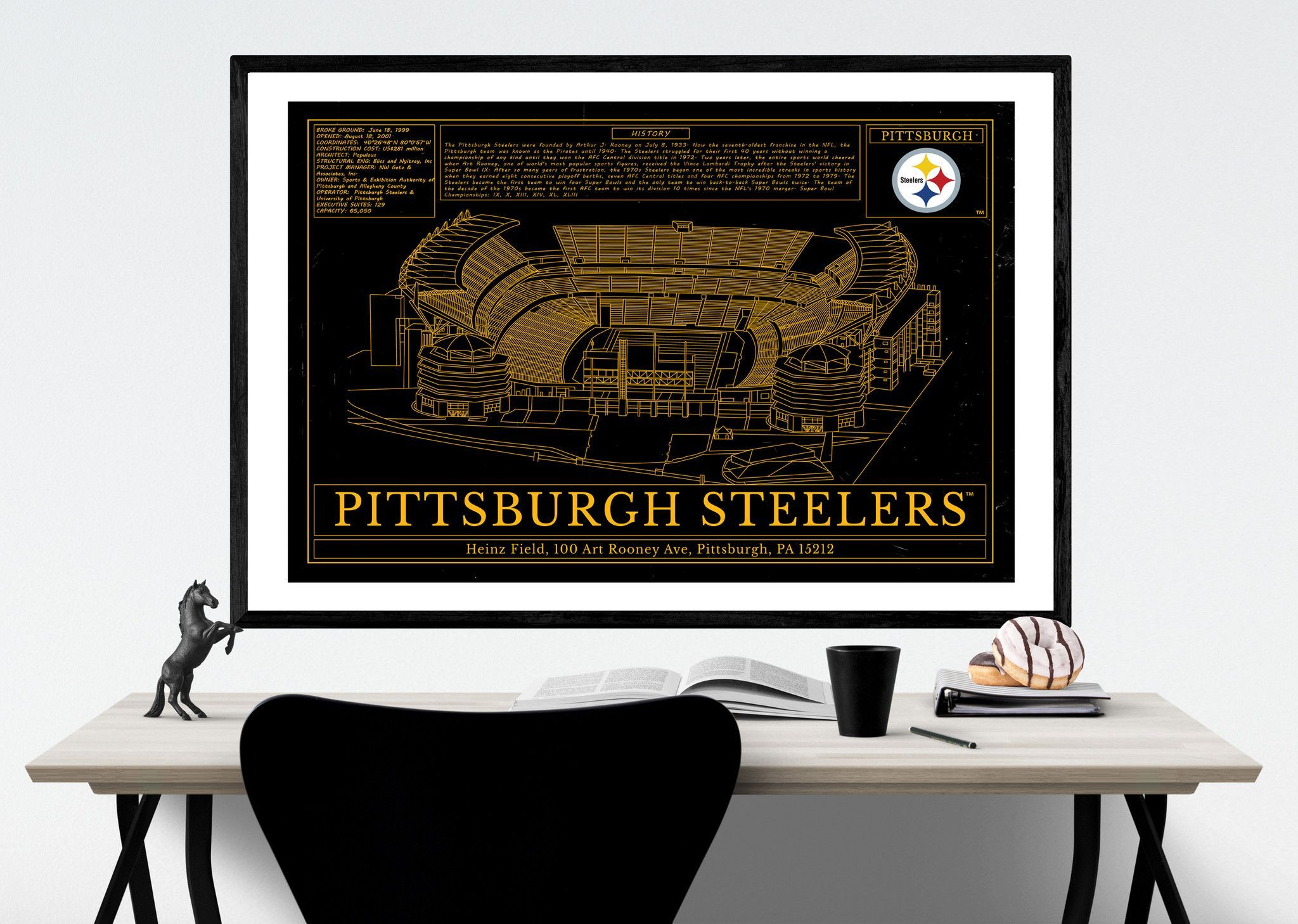 Unique NFL Stadium Blueprint Pittsburgh Steelers Heinz