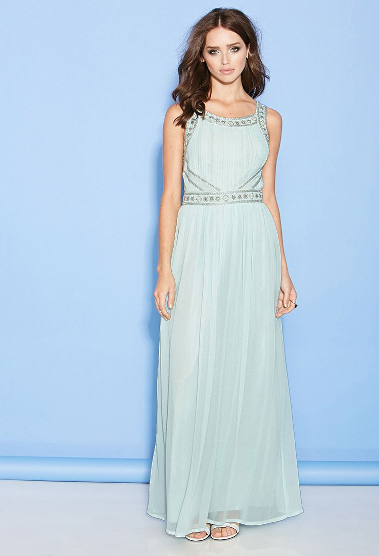 873bc13f1231 Beaded Chiffon Maxi Dress. $49.90 | Forever 21 Bridesmaids. | Beaded ...