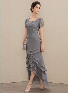 JJsHouse A-Line Scoop Neck Asymmetrical Chiffon Lace Mother of the Bride Dress With Cascading Ruffle