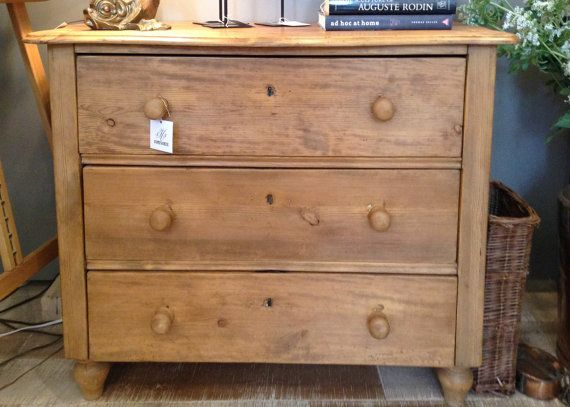 Antique English Pine Chest Of Drawers Dresser 19th By Fmfcompagnie
