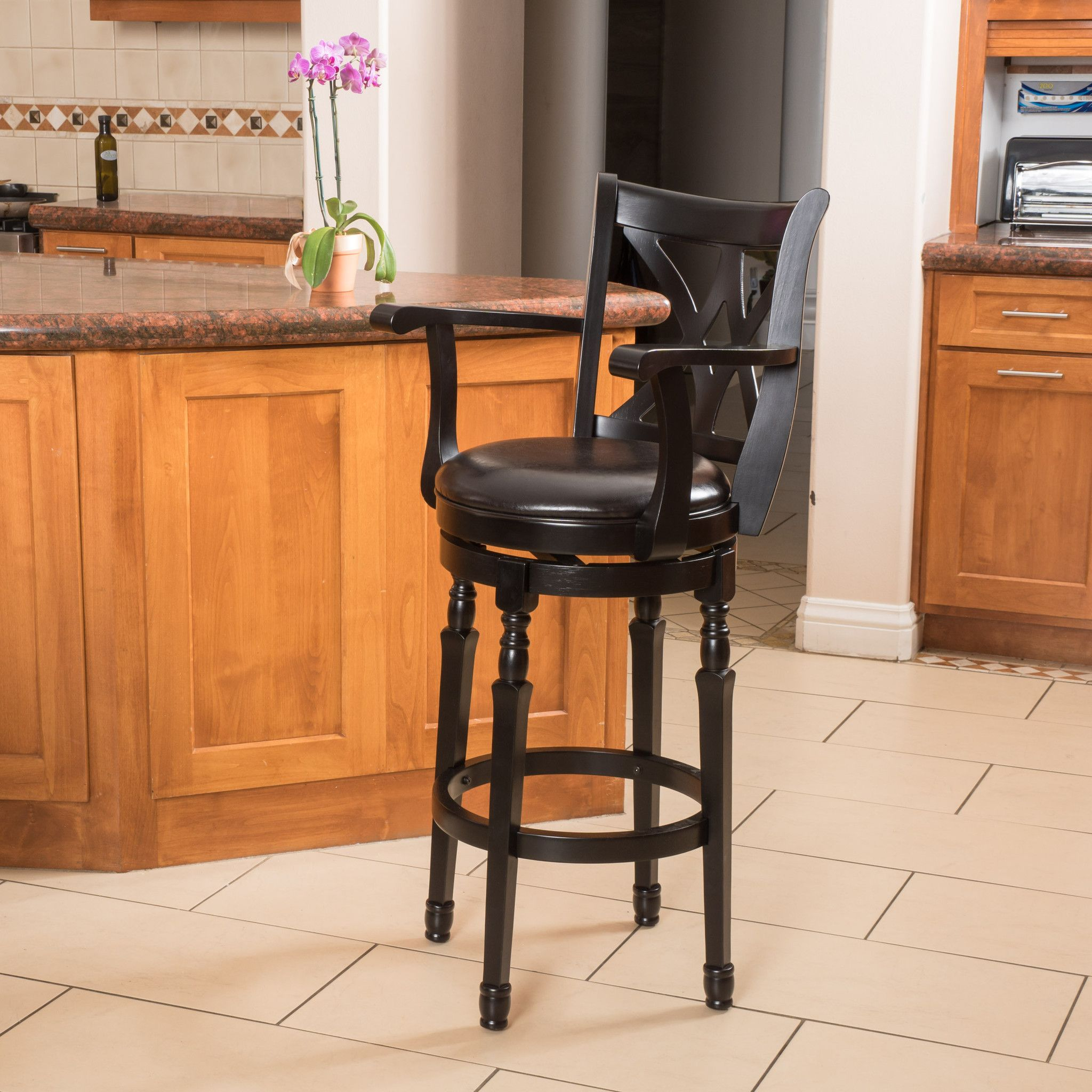 Montreal Farmhouse Black Bonded Leather Swivel Barstool With Arms
