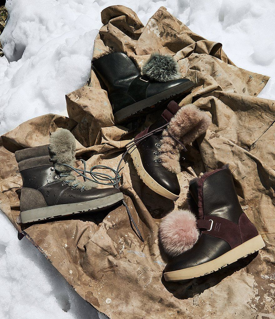 b740968c105 Black:UGG® Isley Waterproof Leather Suede Pom Pom Boots   Best Foot ...