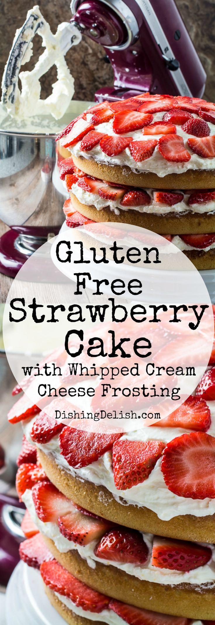 Gluten free strawberry cake whipped cream cheese
