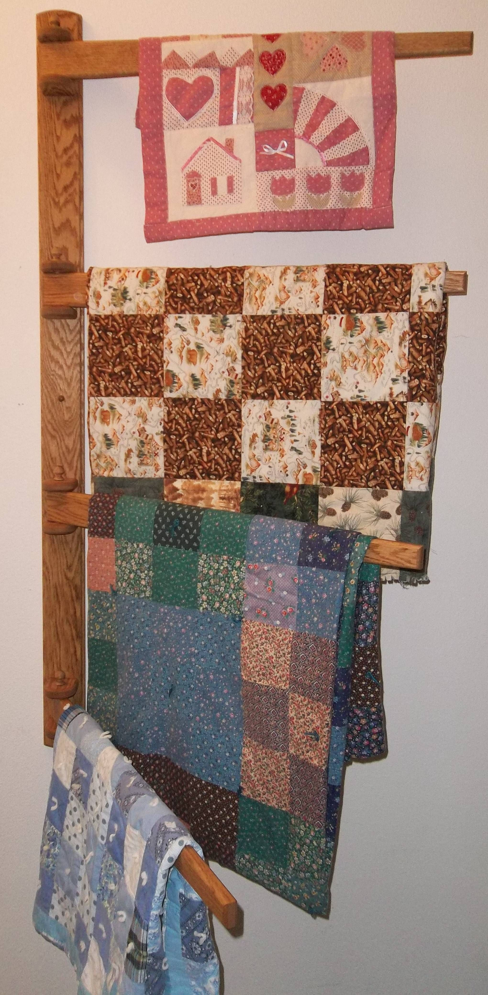 Large Multiple Quilt Swing Arm Wall Quilt Hanger After
