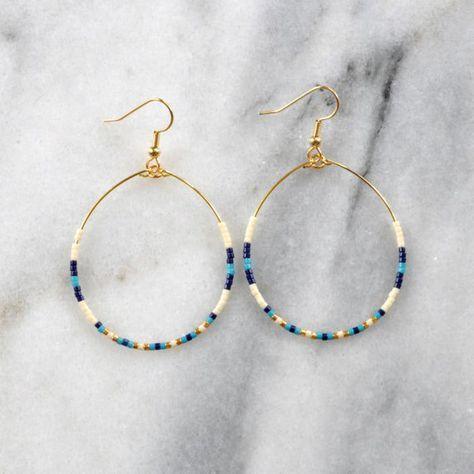 Photo of Navy Turquoise Beaded Hoop Earrings Big Hoops Bohemian | Etsy