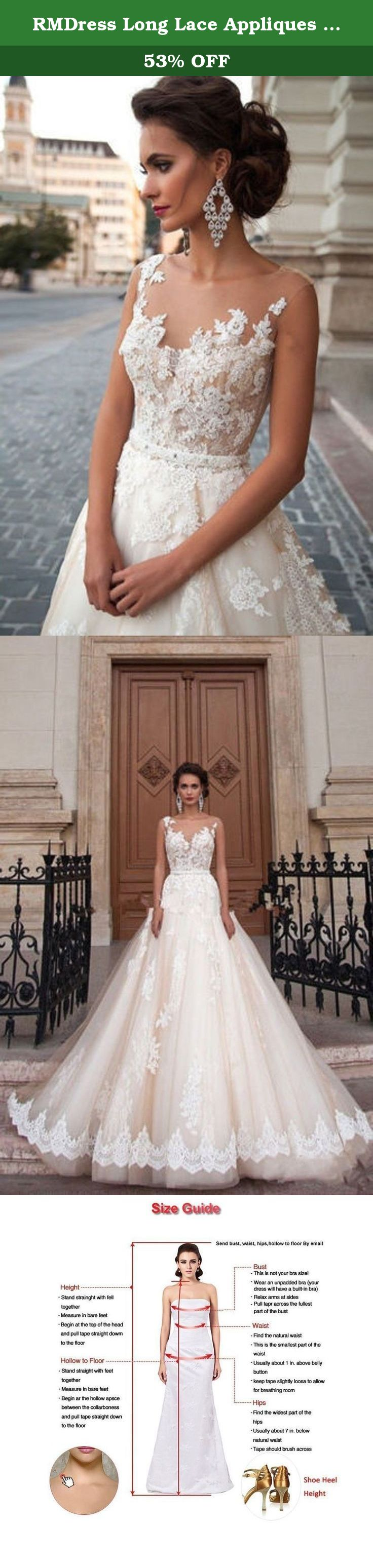 Rmdress long lace appliques bridal wedding ball gown dress bride