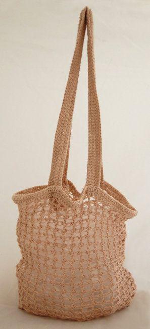 mesh crochet bag by lisa richardson in rowan purelife organic cotton