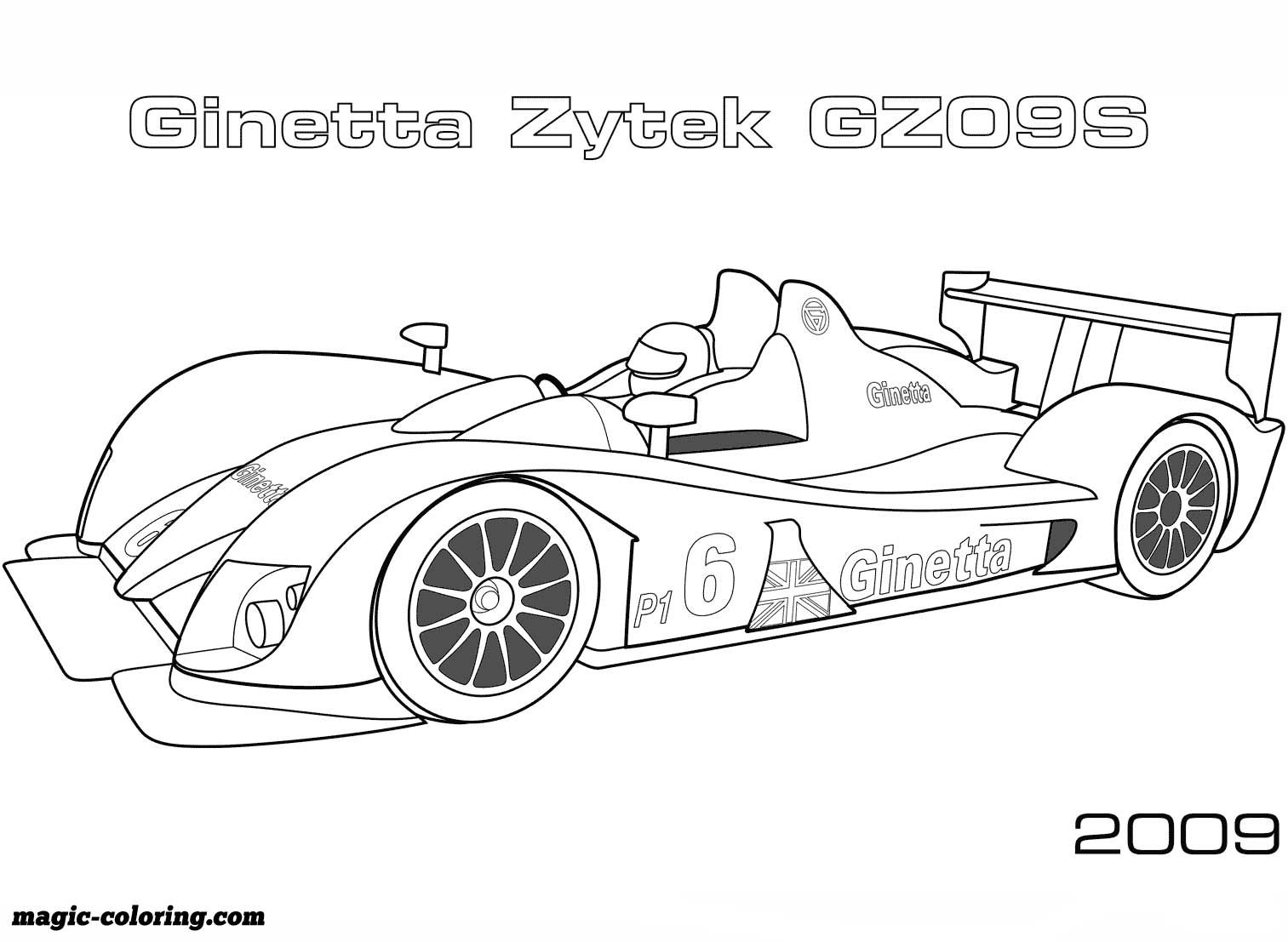 2009 Ginetta Zytek Gz09s Coloring Page Race Car Coloring Pages Cars Coloring Pages Sports Coloring Pages