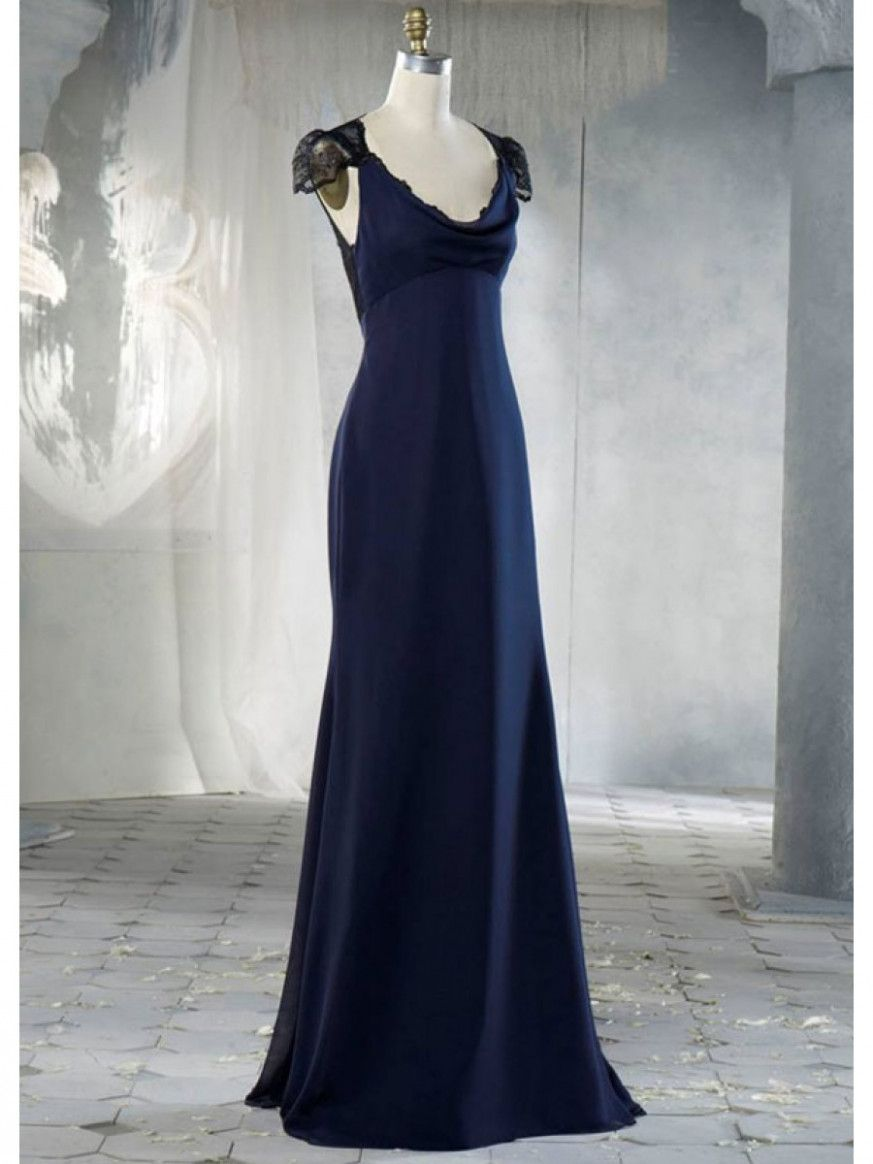 Aline cap sleeves floor lengthlong navy blue chiffon lace