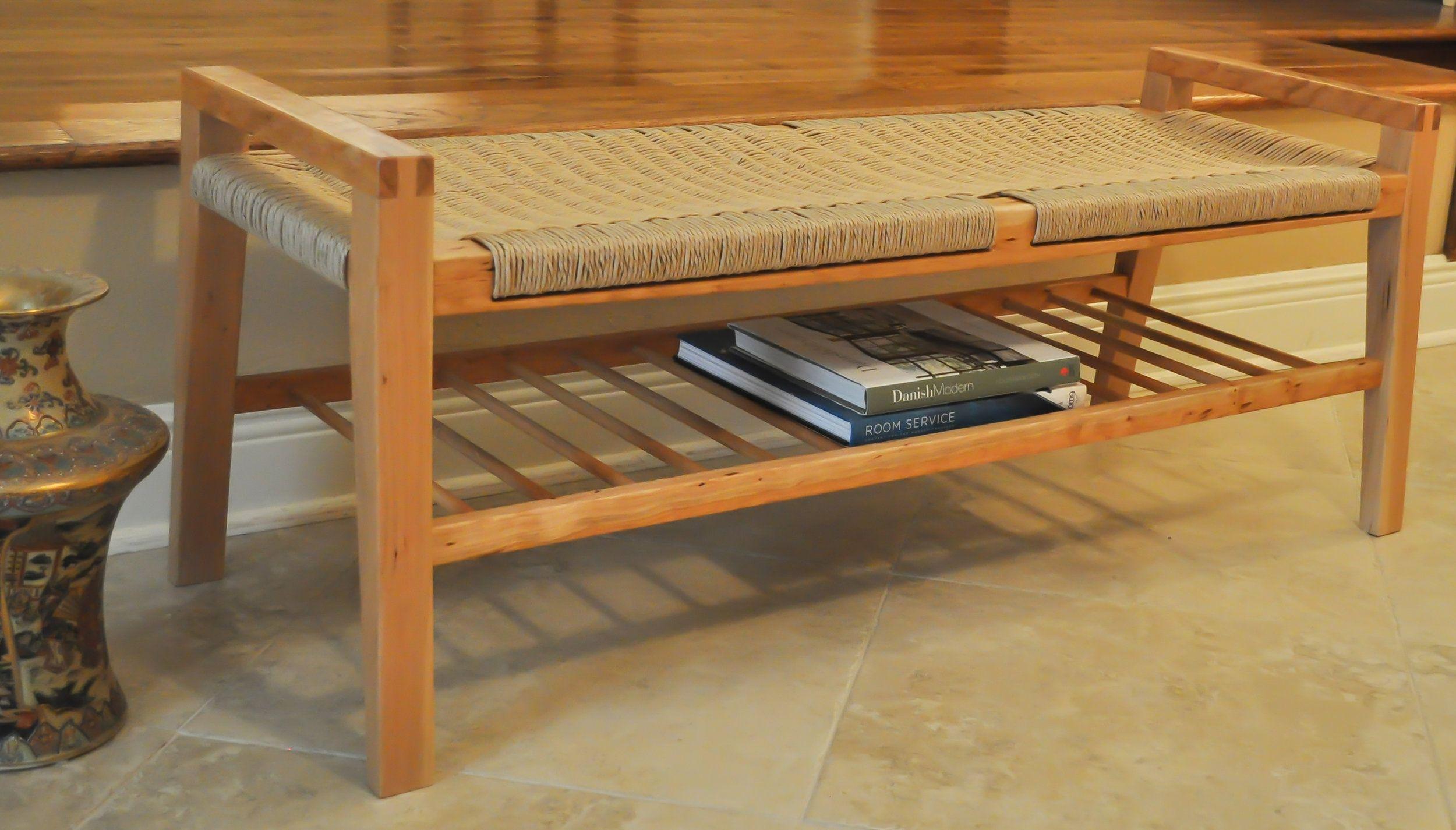 Sutton Bench With Shelf Sutton Projekt Furniture Maker Honolulu Hawai I Modern Wood Bench Danish Cord Modern Wood Furniture