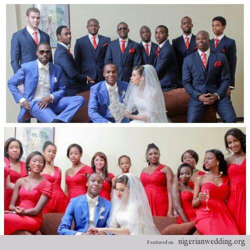 Nigerian Wedding Bridesmaids: Bridal Party- Bridesmaids & Groomsmen Blue & Red Wedding