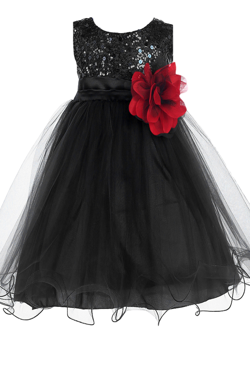 48ee2224169 An Elegant Black Sequins   Mesh Overlay Satin Baby Girls Formal Dress with  Large   Small Sequined Bodice