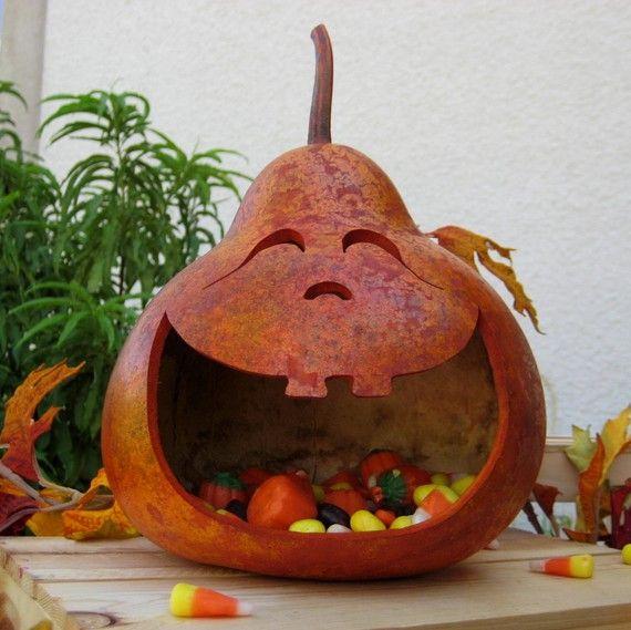 Halloween Gourd Jack-O-Lantern Candy Dish Halloween gourds, Gourds