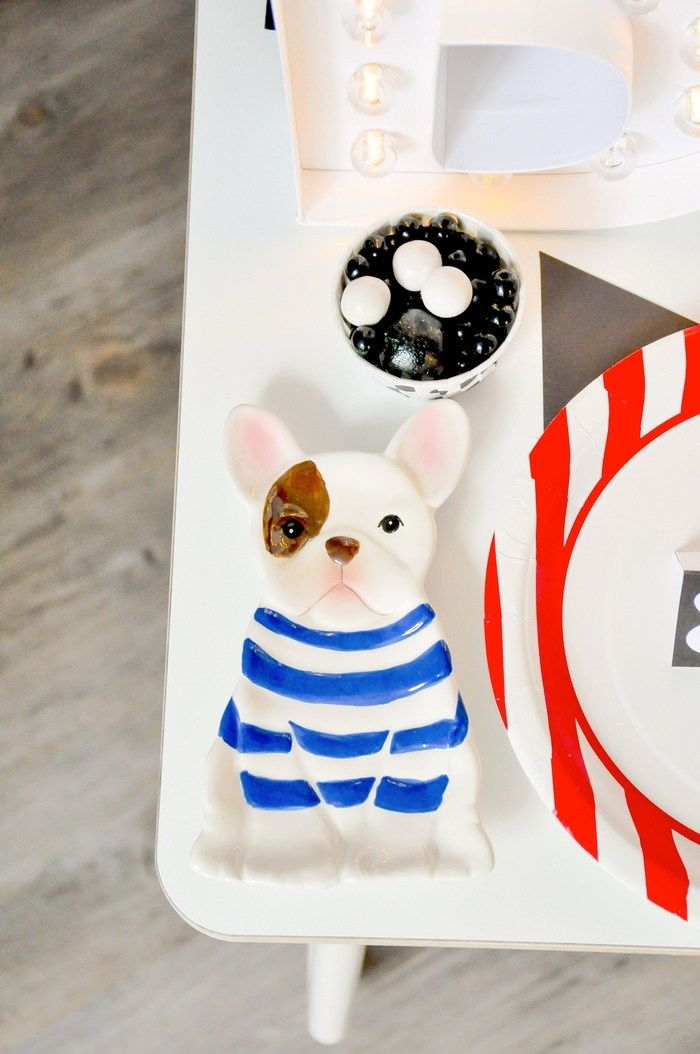 The cutest dog plate! Modern French Bulldog and Friends dog birthday party by Karas Party Ideas | KarasPartyIdeas.com with FREE PRINTABLE PLACE CARDS, TAGS, BACKDROP, SIGNS AND MORE!