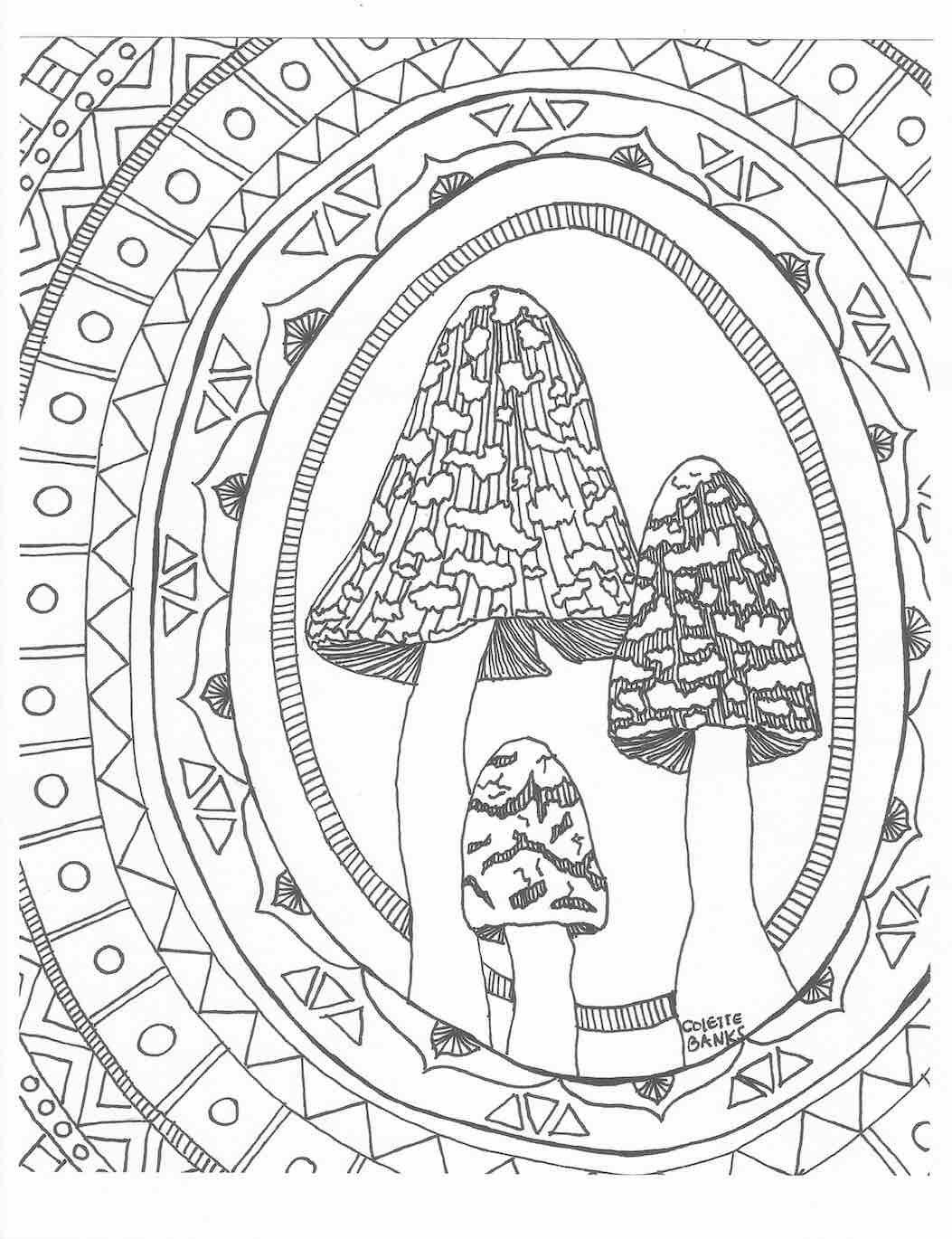 Aztec Zentangle Adult Coloring Page Of Woodland Mushrooms