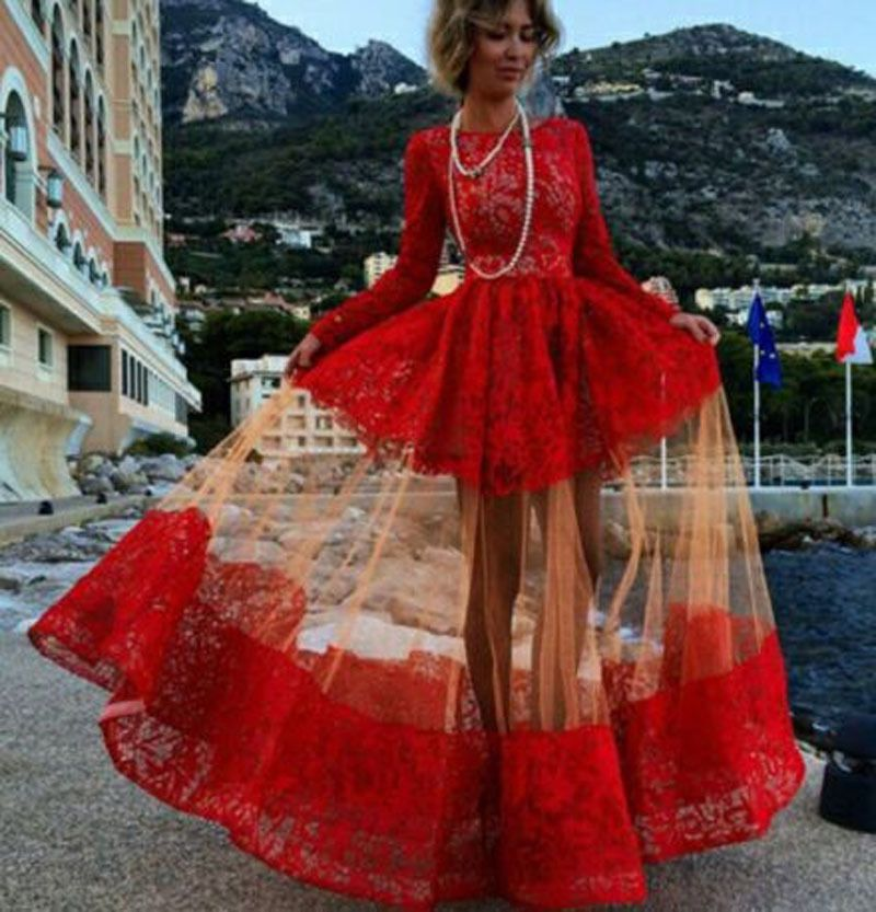 Red Vintage Lace Elegant Long Sleeve Maxi Ball Gown Retro Evening Prom Dress
