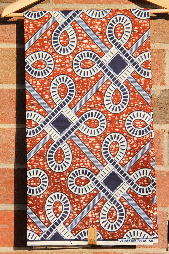 Celtic Knot Print Batik Ankara African Wax Print Fabric Brown