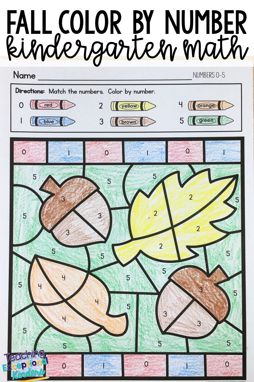 Fall Color by Number Kindergarten Math Worksheets